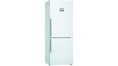 KGN76AWF0N NoFrost, Alttan donduruculu buzdolabı Parlak beyaz kapılar