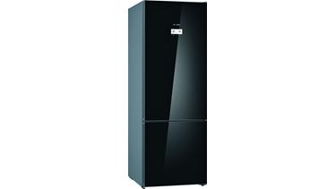KGN56LBF0N NoFrost, Alttan donduruculu buzdolabı Cam Siyah kapılar