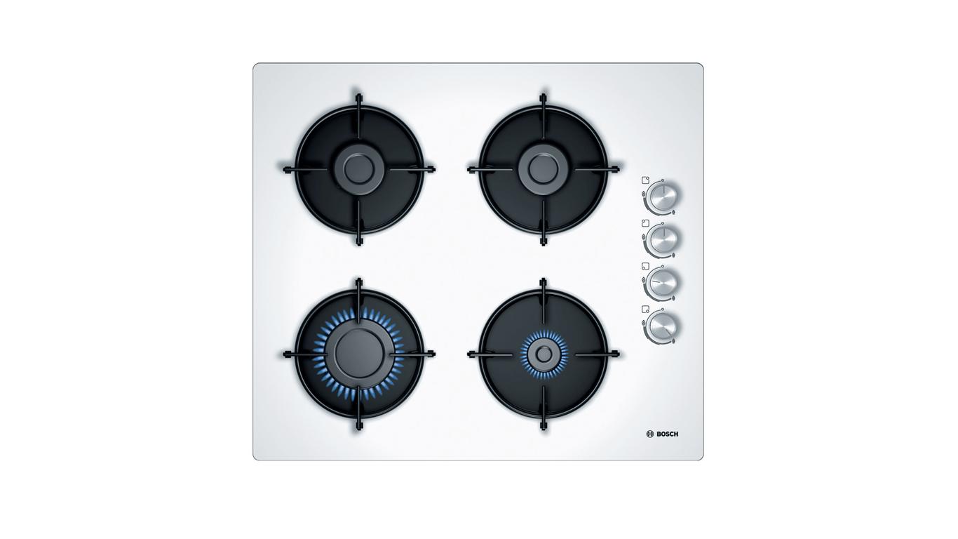 Bosch POP6C2O10O Gazlı Ocak. 60 Cm. Sert Cam, Beyaz.,Pişirme Grubu Kategorisinde,Ankastre Ocaklar Ürünü.